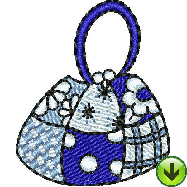 Seams Blue Hand Bag Embroidery Design | DOWNLOAD