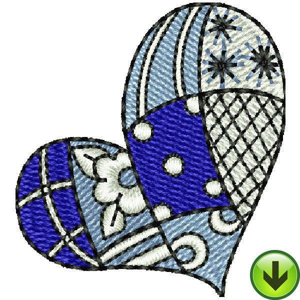 Seams Blue Large Heart Embroidery Design | DOWNLOAD