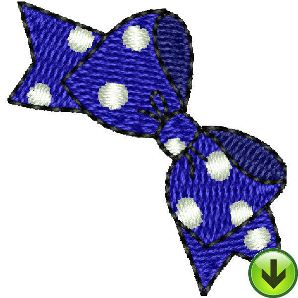 Seams Blue Polka Dot Bow Embroidery Design | DOWNLOAD