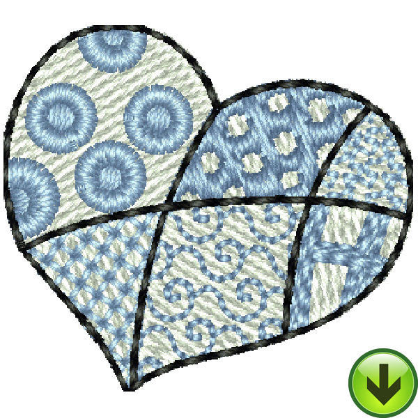 Seams Blue Small Heart Embroidery Design | DOWNLOAD