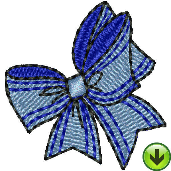 Seams Blue Striped Bow Embroidery Design | DOWNLOAD
