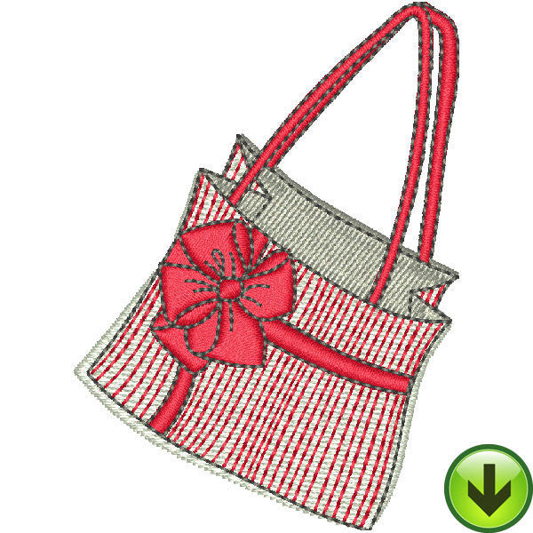 Serious Shopper Red Bag Embroidery Design | DOWNLOAD