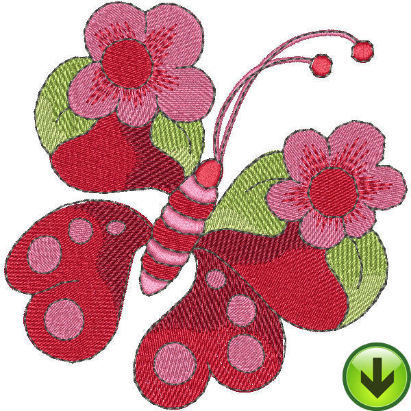 Flower Butterfly Embroidery Design | DOWNLOAD