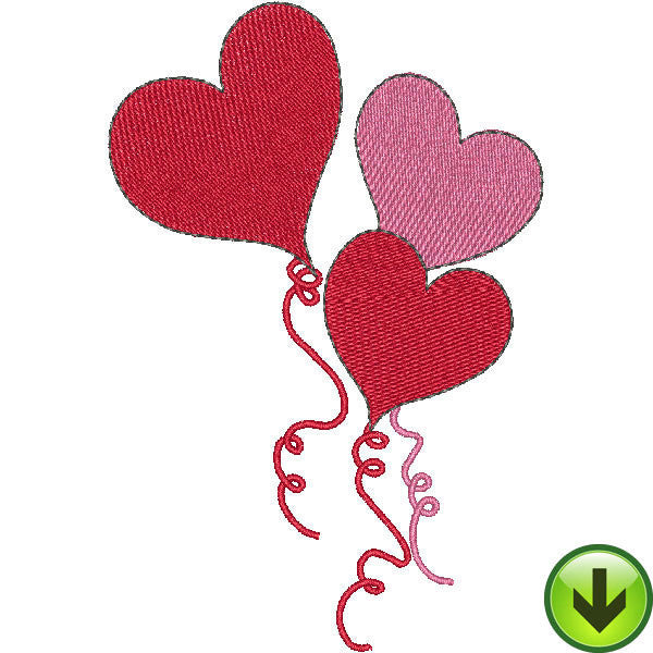 Heart Balloons Embroidery Design | DOWNLOAD