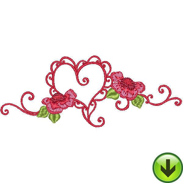 Open Ruffle Heart Scroll Embroidery Design | DOWNLOAD