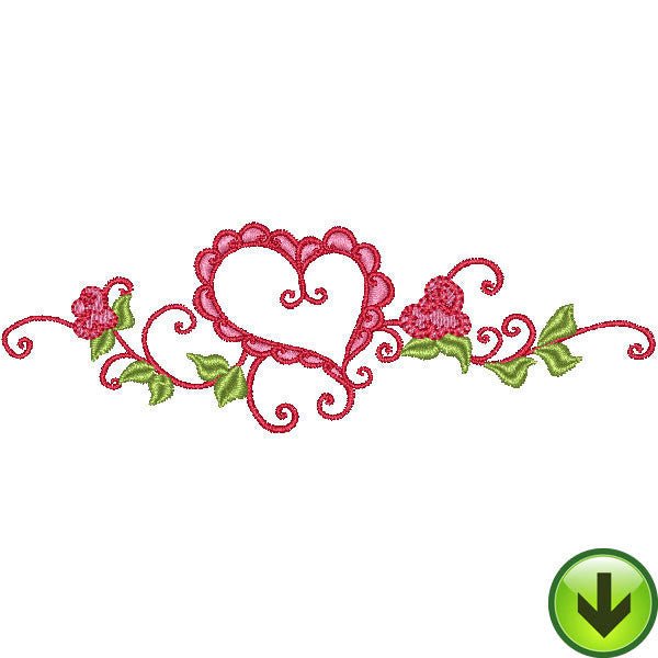 Ruffle Heart Scroll Embroidery Design | DOWNLOAD