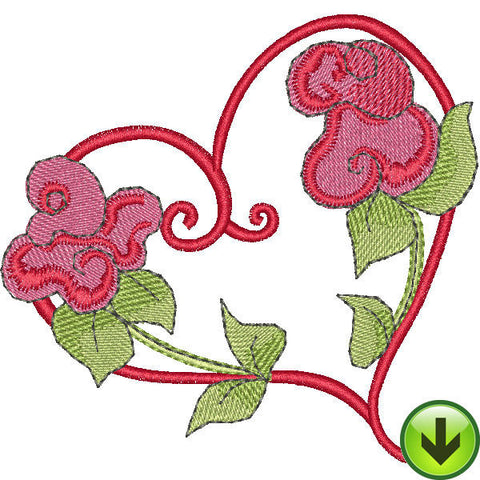 Two Flower Heart Embroidery Design | DOWNLOAD