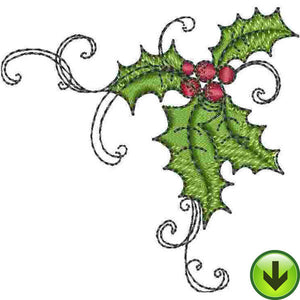 Holly Scroll 1 Embroidery Design | DOWNLOAD