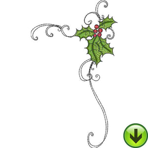 Holly Scroll 2 Embroidery Design | DOWNLOAD