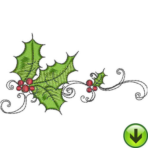 Holly Scroll 3 Embroidery Design | DOWNLOAD