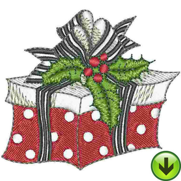 Polka Gift Embroidery Design | DOWNLOAD