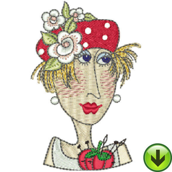 Pincushion Lady Mugshot Embroidery Design | DOWNLOAD
