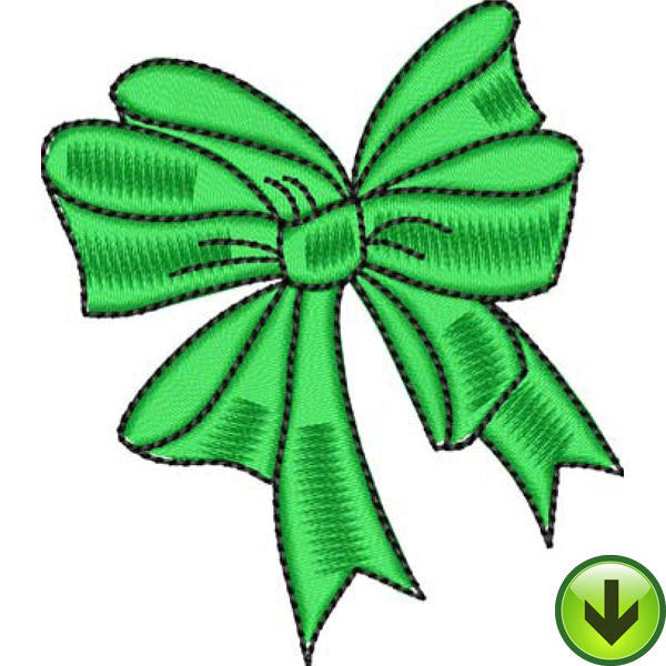 Green Bow Embroidery Design | DOWNLOAD