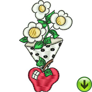 Polka Apple Vase Embroidery Design | DOWNLOAD