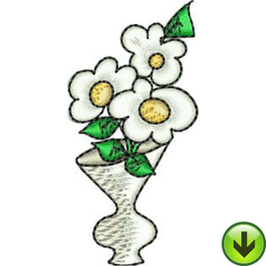 Three Daisy Vase Embroidery Design | DOWNLOAD