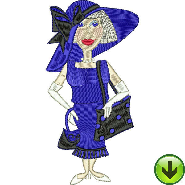 Blue Lady Embroidery Design | DOWNLOAD