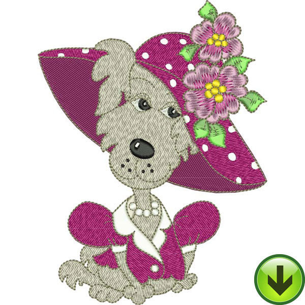 Fuchsia Dog Embroidery Design | DOWNLOAD