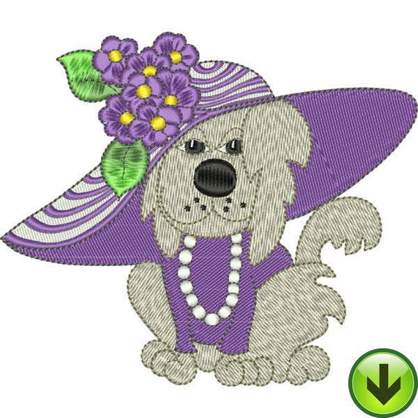 Hydrangea Dog Embroidery Design | DOWNLOAD