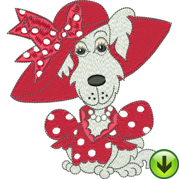 Red Dot Dog Embroidery Design | DOWNLOAD