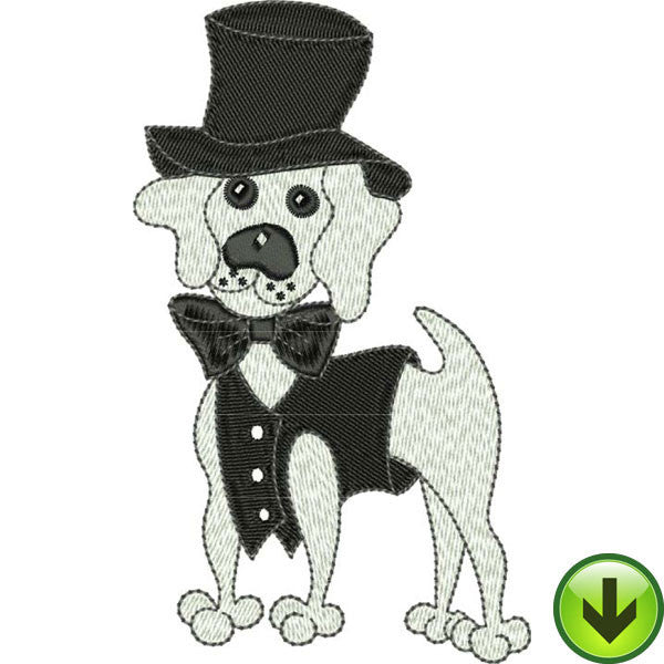 Top Hat Tux & Tail Embroidery Design | DOWNLOAD