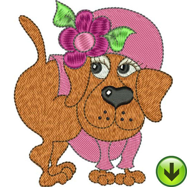 Hot Pink Pup Embroidery Design | DOWNLOAD