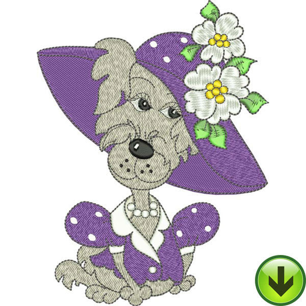 Violet Dog Embroidery Design | DOWNLOAD
