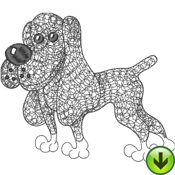 Scribble Dog Embroidery Design | DOWNLOAD