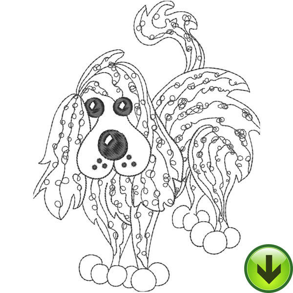 Scribble Stripe Dog Embroidery Design | DOWNLOAD