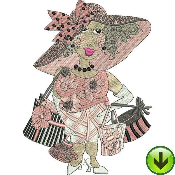 Serious Shopper in Paris Machine Embroidery Design | Download