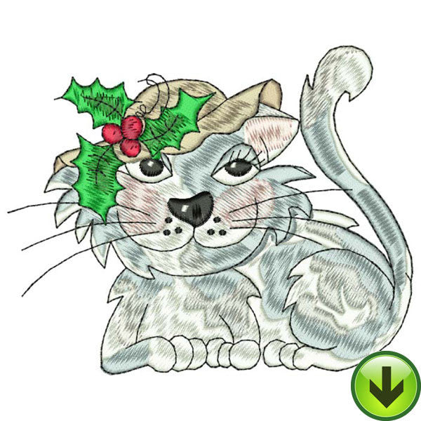 Holly Cat Embroidery Design | DOWNLOAD