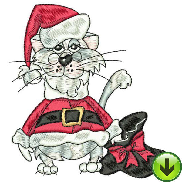 Santa Cat Embroidery Design | DOWNLOAD
