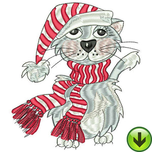 Wrap & Hat Cat Embroidery Design | DOWNLOAD
