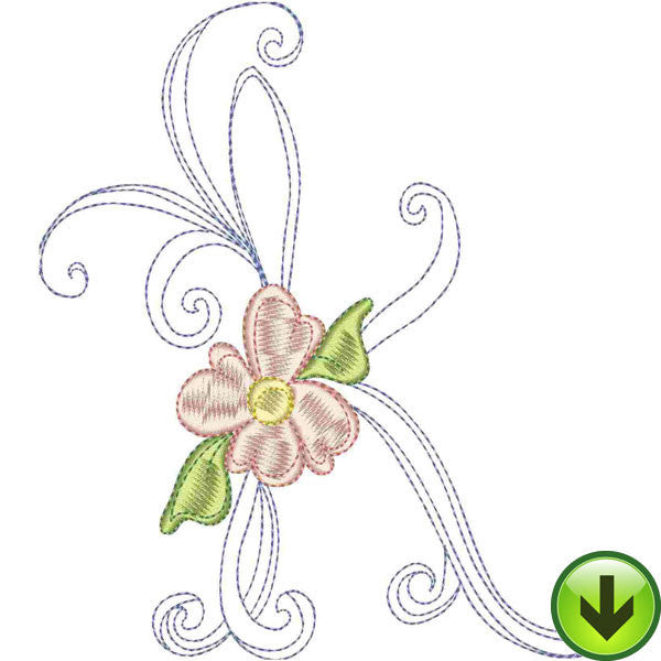 K Upper Case Embroidery Design | DOWNLOAD