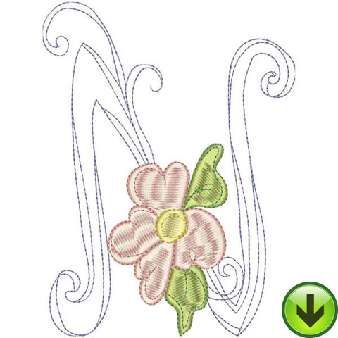 N Upper Case Embroidery Design | DOWNLOAD