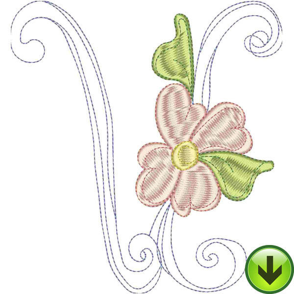 V Upper Case Embroidery Design | DOWNLOAD
