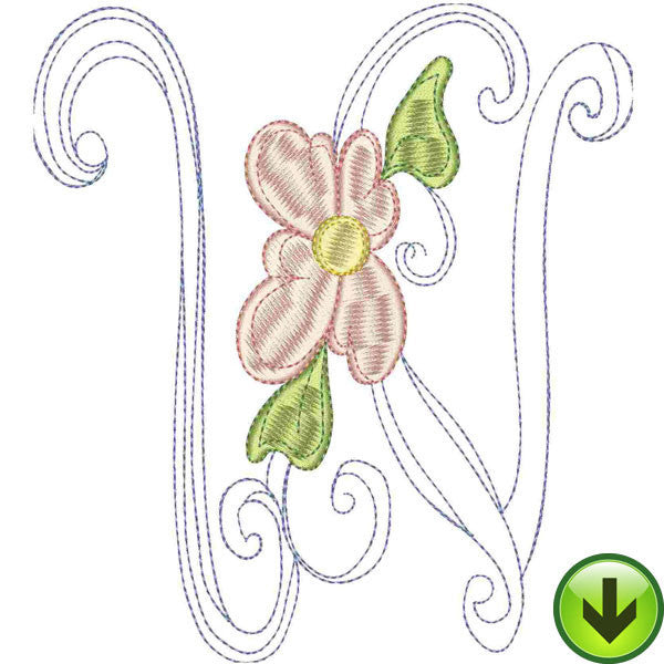 W Upper Case Embroidery Design | DOWNLOAD
