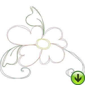 Happy Daisy Flourish A Embroidery Design | DOWNLOAD