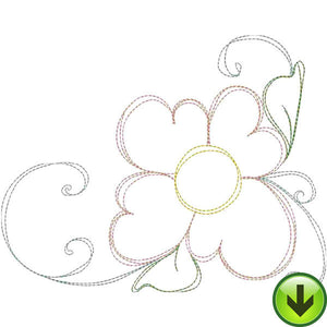 Happy Daisy Flourish B Embroidery Design | DOWNLOAD