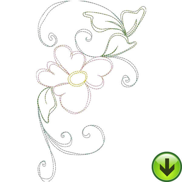 Heart Daisy Bookends Embroidery Design | DOWNLOAD