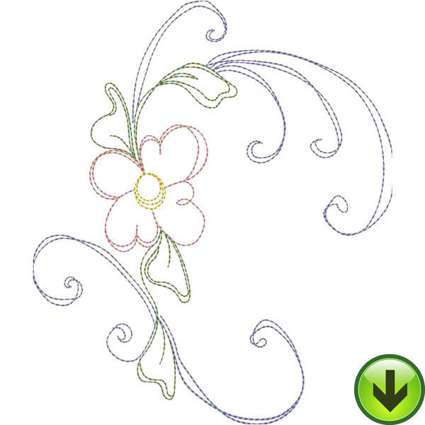 Seven Daisy Swirl A Embroidery Design | DOWNLOAD