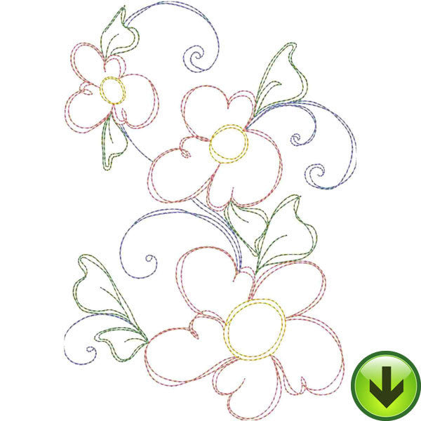 Seven Daisy Swirl B Embroidery Design | DOWNLOAD