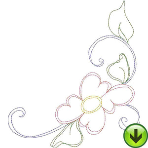 Seven Daisy Swirl C Embroidery Design | DOWNLOAD