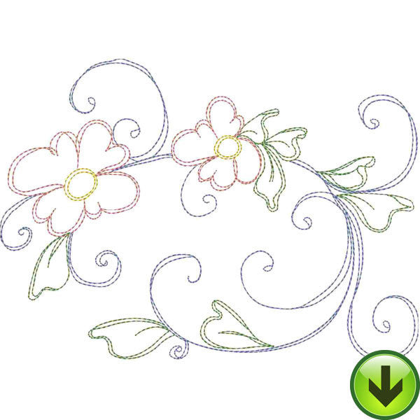Seven Daisy Swirl D Embroidery Design | DOWNLOAD