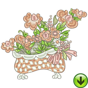 Blooming Bathtub Embroidery Design | DOWNLOAD