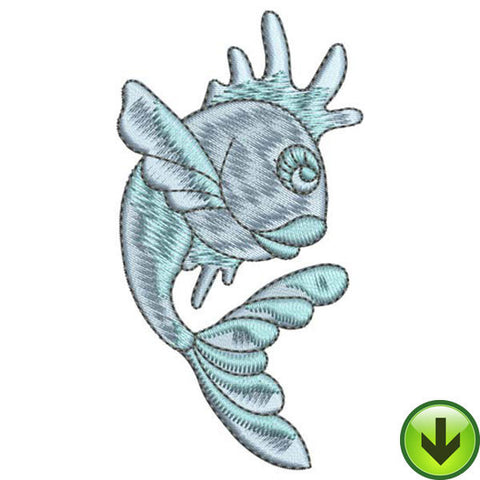 Blue Flipper Fish Embroidery Design | DOWNLOAD