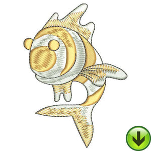 Gold Stripe Flipper Fish Embroidery Design | DOWNLOAD