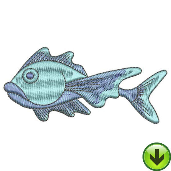 Blue Squirrel Fish Embroidery Design | DOWNLOAD