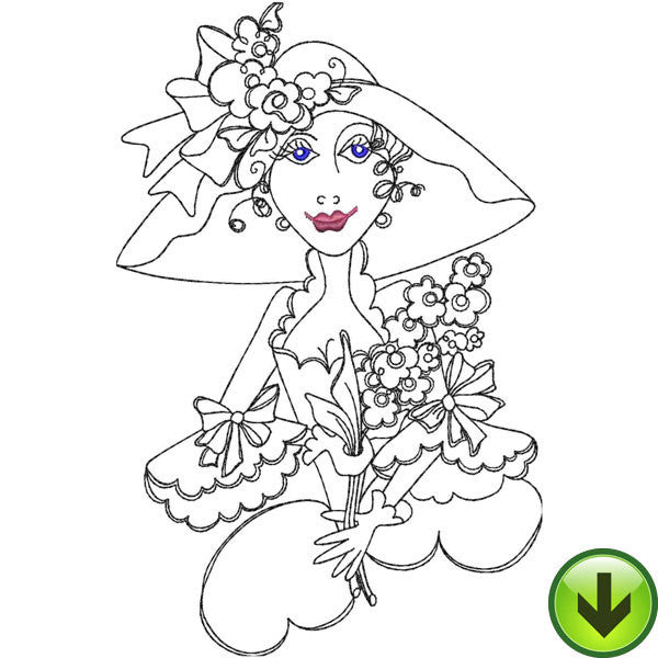 Lady with Flowers Embroidery Design | DOWNLOAD