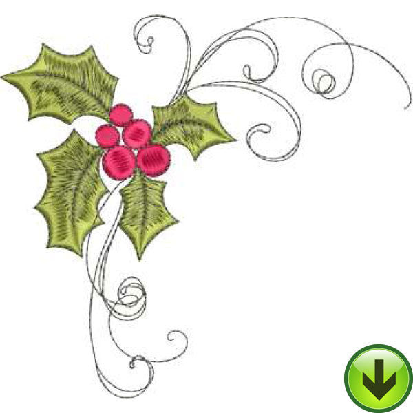 Holly Scroll Embroidery Design | DOWNLOAD