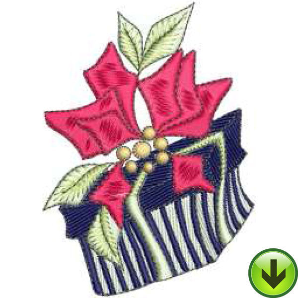 Poinsettia Present Embroidery Design | DOWNLOAD